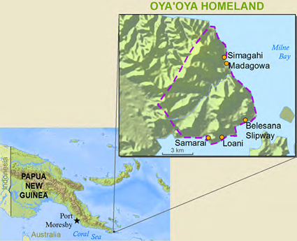 Map of Oyaoya in Papua New Guinea
