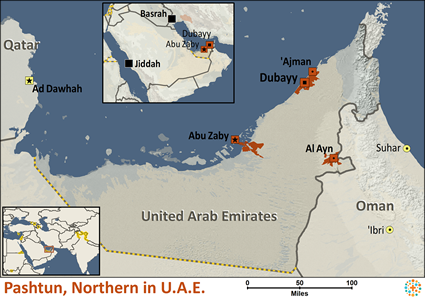 Map of Pashtun, Northern in United Arab Emirates