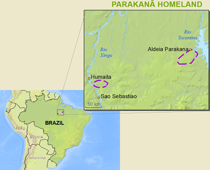 Map of Parakana in Brazil