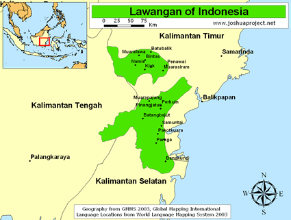 Map of Dayak, Lawangan in Indonesia