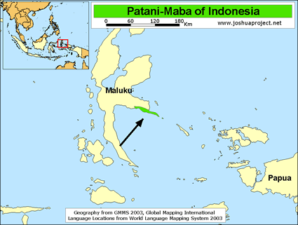 Map of Patani in Indonesia
