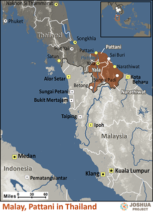 Map of Malay, Pattani in Thailand
