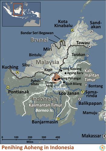 Map of Penihing, Aoheng in Indonesia