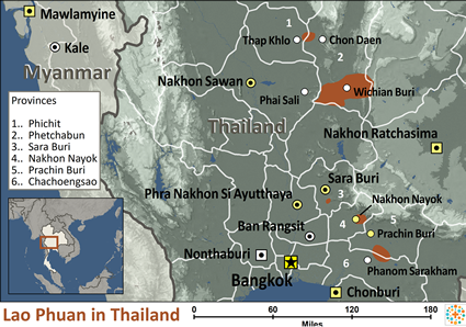 Map of Lao Phuan in Thailand