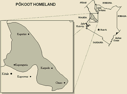Map of Kalenjin, Pokot in Uganda