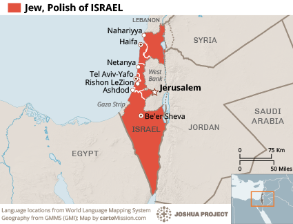 Map of Jew, Polish in Israel