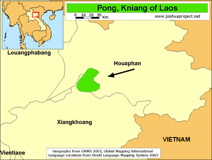 Map of Pong in Laos