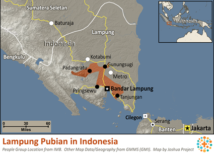 Map of Lampung Pubian in Indonesia