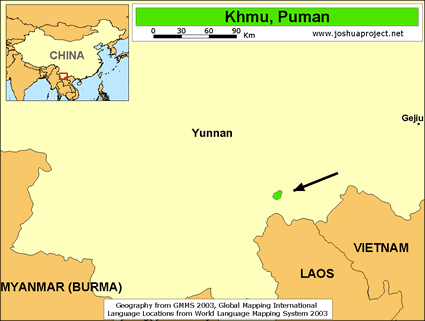 Map of Khmu, Puman in China