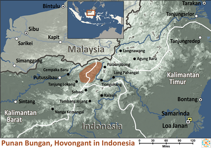 Map of Punan Bungan, Hovongan in Indonesia