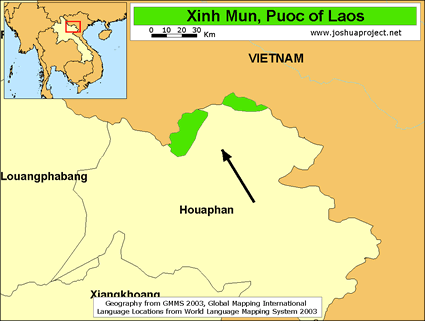 Map of Puoc in Laos