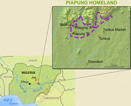Map of Payung in Nigeria