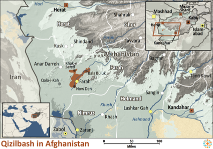 Map of Qizilbash in Afghanistan