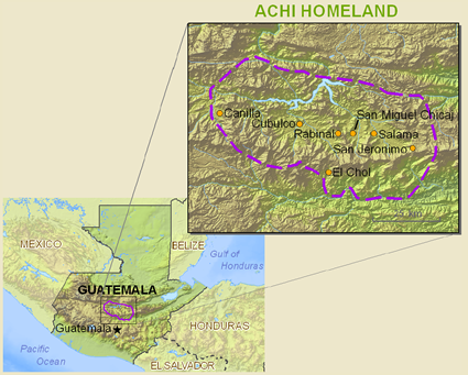 Map of Achi, Rabinal in Guatemala