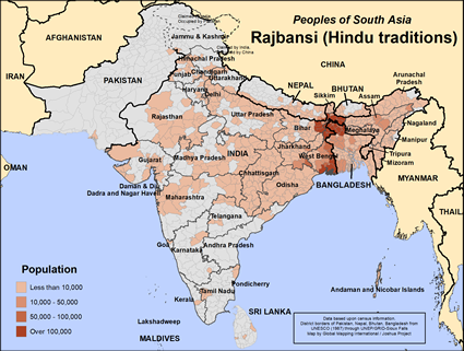 Map of Rajbansi (Hindu traditions) in India
