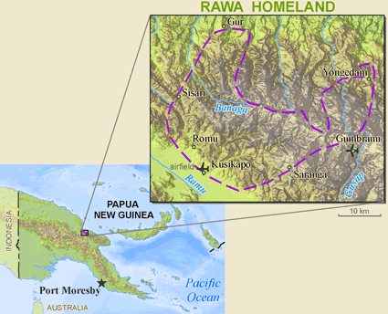 Map of Rawa, Erewa in Papua New Guinea