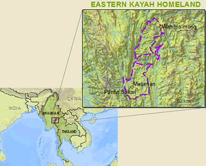 Map of Karen, Eastern Kayah in Thailand