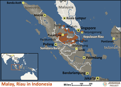 Map of Malay, Riau in Indonesia