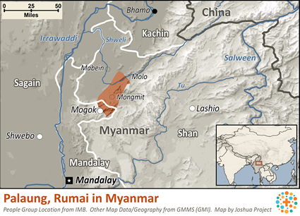 Map of Palaung, Rumai in Myanmar (Burma)