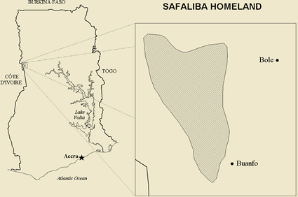 Map of Safaliba, Safazo in Ghana