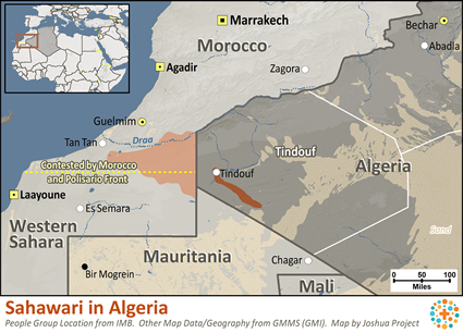 Map of Saharawi in Algeria