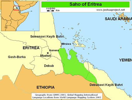 Map of Saho, Irob in Eritrea