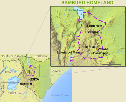 Map of Samburu in Kenya