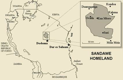 Map of Sandawe in Tanzania