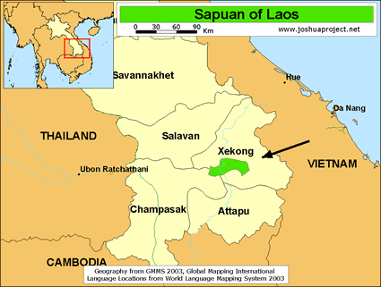 Map of Sapuan in Laos