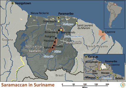 Map of Saramaccan in Suriname