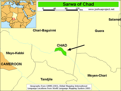Map of Sarwa in Chad