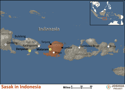 Map of Sasak in Indonesia