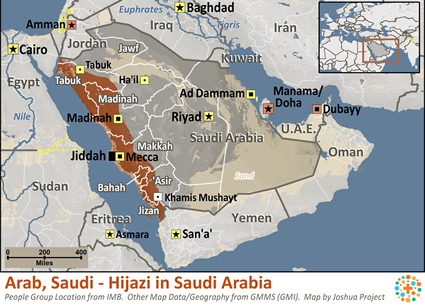 Map of Arab, Saudi - Hijazi in Saudi Arabia
