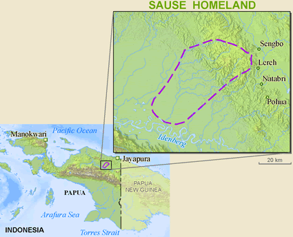 Map of Sause in Indonesia
