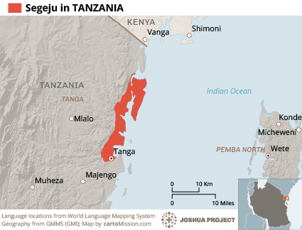 Map of Segeju in Tanzania