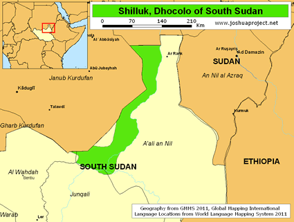 Map of Shilluk, Dhocolo in South Sudan