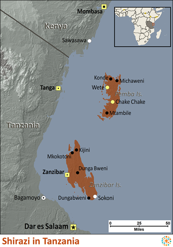 Map of Shirazi in Tanzania
