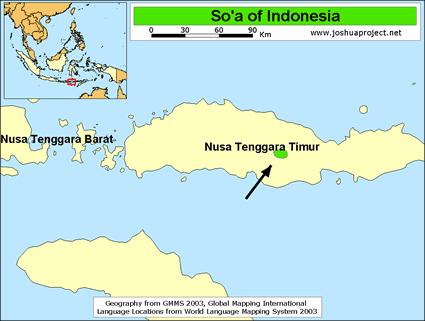 Map of So'a in Indonesia