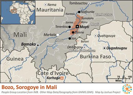 Map of Bozo, Sorogoye in Mali