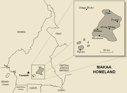 Map of Makaa, South in Cameroon