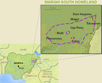 Map of Marghi, South in Nigeria