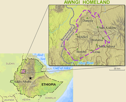 Map of Awi in Ethiopia