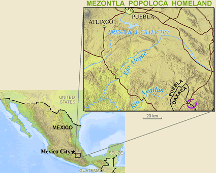 Map of Popoloca, Mezontla in Mexico