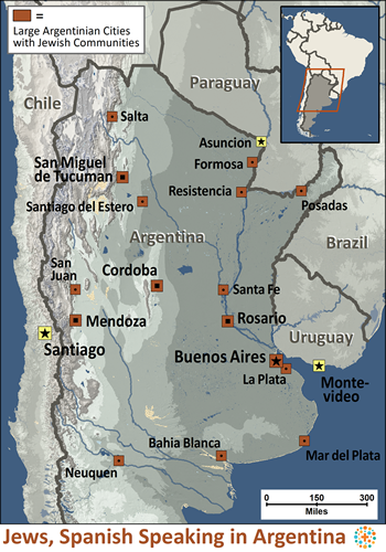 Map of Jew, Spanish-speaking in Argentina
