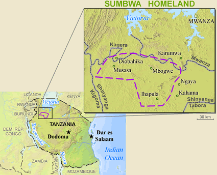 Map of Sumbwa in Tanzania