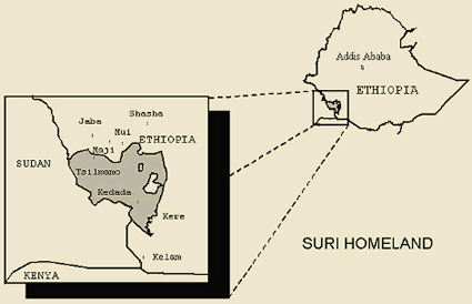 Map of Suri, Tirmaga-Chai in Ethiopia