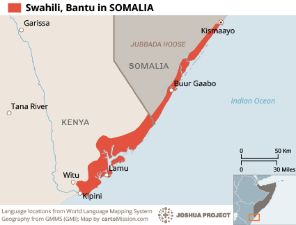 Swahili language map