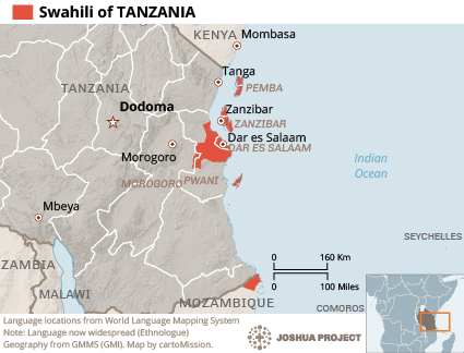 Map of Swahili in Tanzania