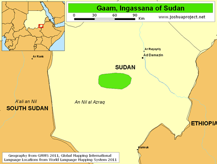 Map of Ingessana, Gaam in Sudan