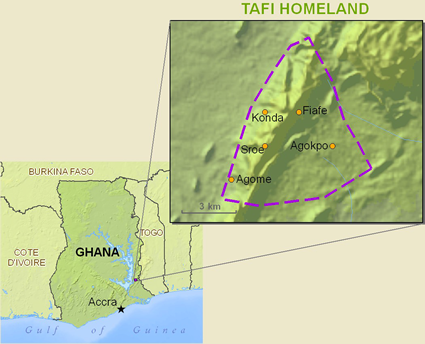 Map of Tafi, Tegbo in Ghana